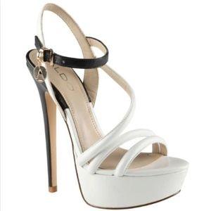 Aldo Black & White Strappy Chunky High Heel